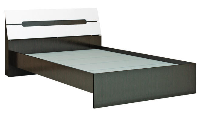 Кровать с основанием ДСП 1600 Гавана венге - акрил белый