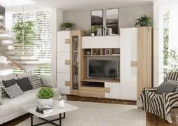 Модульная гостиная Афина дуб сонома - белый глянец композиция-2