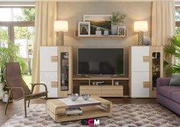 Модульная гостиная Афина белый глянец - дуб сонома композиция-3