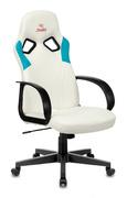 Кресло игровое Zombie RUNNER белый/голубой