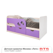 Кровать детская Минима Лего 1860 дуб атланта - лиловый сад