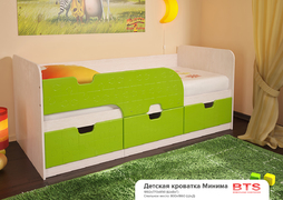 Кровать детская Минима дуб атланта-лайм