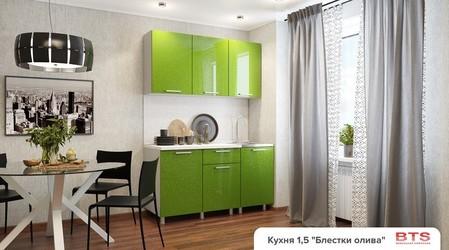 Кухня 1,5м МДФ блестки олива