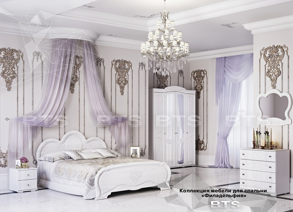 Модульная спальня Филадельфия белый - белый бриллиант комплект-1