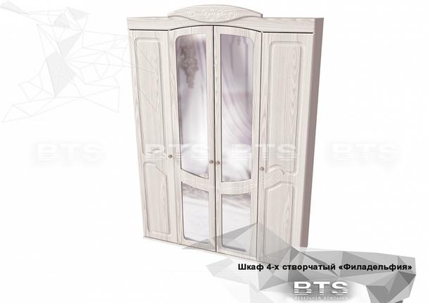 Шкаф Филадельфия ШК-06 белый - белый бриллиант