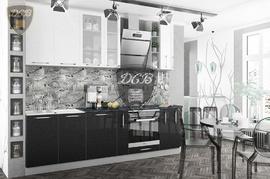 Кухня Олива МДФ белый - черный металлик Комплект 2,7м