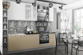 Кухня Олива МДФ белый металлик - кофе с молоком глянец Комплект 2,7м