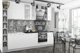 Модульная кухня серии Олива белый металлик