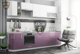 Кухня Олива МДФ белый - сирень металлик комплект 2,8м