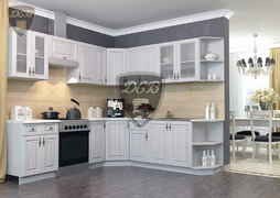 Кухня угловая Империя МДФ сандал комплект 2,45х2,35м