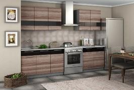 Кухня Олеся 2,0м ясень темный - черный глянец