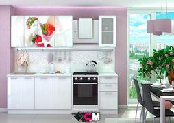 Кухня с фотопечатью Клубника со сливками 1,6м