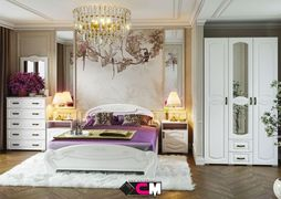 Модульная спальня Медина дуб анкор - дуб белый комплект-1