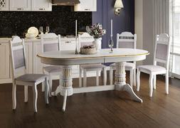 Стол обеденный Корвет-1 белый - патина золото