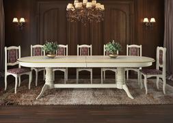 Стол обеденный Корвет-3 слоновая кость - патина золото