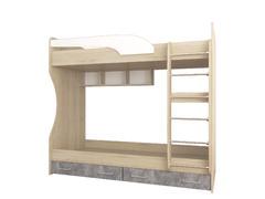 Кровать 2-ярусная Колибри Лофт дуб сонома - ателье светлое+акрил белый
