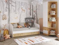 Кровать малогабаритная Аленка 0,8 дуб бунратти - белый