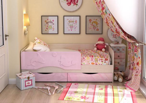 Кровать детская Алиса КР-813 1800 белфорт - розовый металлик