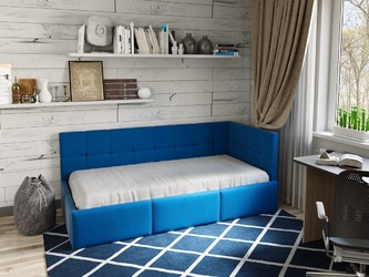 Кровать Оттава 90х200 подъемный механизм синяя
