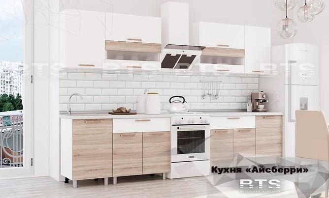 Кухня Айсбери ЛДСП 2,4м белый - дуб сонома