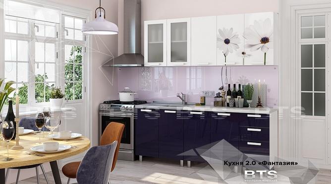 Кухня Фантазия МДФ 2м индиго - белый глянец
