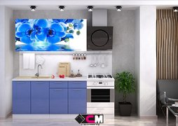 Кухня с фотопечатью Голубая орхидея 1,6м