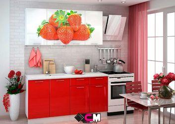 Кухня с фотопечатью Клубника 2,0м