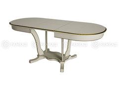 Стол обеденный Лотос-2 белый - патина золото