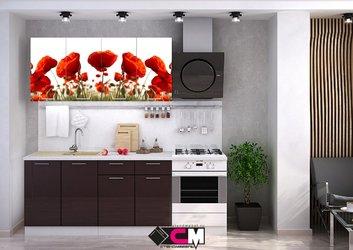 Кухня с фотопечатью Маки 2,0м