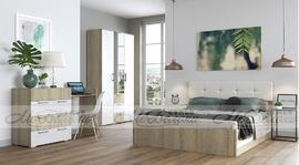 Модульная спальня Белладжио белый глянец - дуб сонома комплект-1