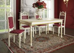 Стол обеденный Милан Антик слоновая кость - патина золото