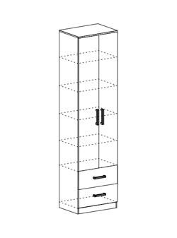 Шкаф с полками и ящиками Машенька ШК-202 шимо темный - шимо светлый