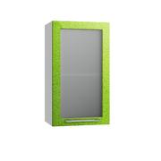 Шкаф верхний со стеклом Олива ПС 400 зеленый металлик