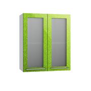 Шкаф верхний со стеклом Олива ПС 600 зеленый металлик