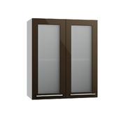Шкаф верхний со стеклом Олива ПС 600 шоколад