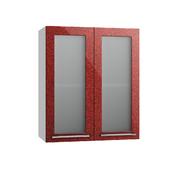 Шкаф верхний со стеклом Олива ПС 600 гранат металлик