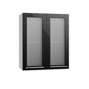 Шкаф верхний со стеклом Олива ПС 600 черный металлик