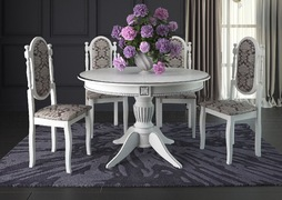 Стол обеденный Рио-5 белый - патина серебро