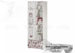 Шкаф с открытыми полками ШК-18 Малибу ясень белый - айскрим