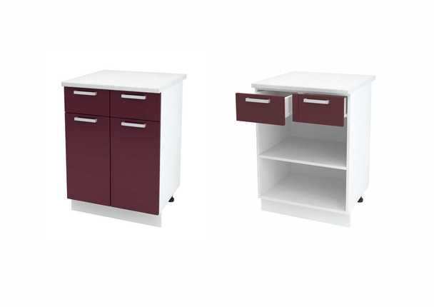 Шкаф нижний с 2 ящиками и створкой Джулия ШН1Я 600
