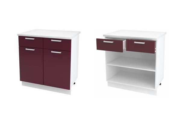 Шкаф нижний с 2 ящиками и створкой Джулия ШН1Я 800
