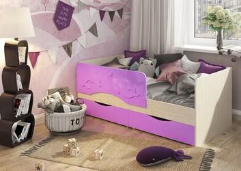 Кровать детская Алиса КР-813 1800 белфорт - сирень металлик