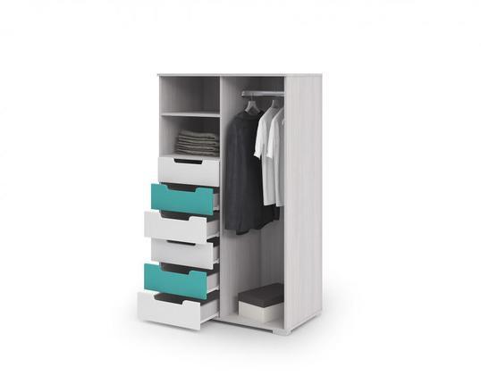Комод-шкаф Миа КМ-053 дуб анкор - белый - бирюза