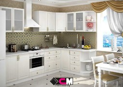 Модульная кухня серии Юлия МДФ сандал белый