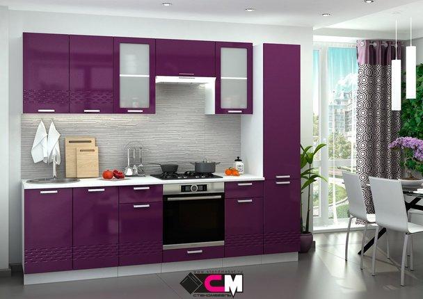 Модульная кухня серии Глория МДФ баклажан глянец
