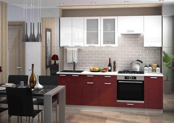 Модульная кухня серии Глория МДФ белый металлик