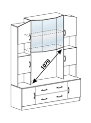 Центральная секция Макарена ЛДСП ТВ-301 венге - белфорт
