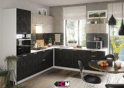 Кухня угловая Бетон МДФ Бетон снежный-Бетон графит Комплект 2,6х2,6м