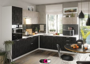 Модульная кухня серии Бетон МДФ бетон графит