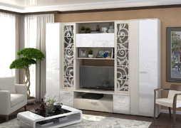 Модульная гостиная Асти белый глянец - дуб белфорт
